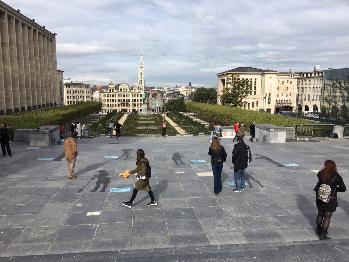 Shadows cover the 'Mont des Arts' in Brussels
